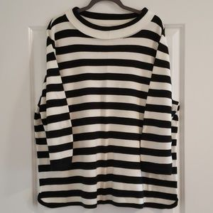 Talbots Black & White Stripe Sweater